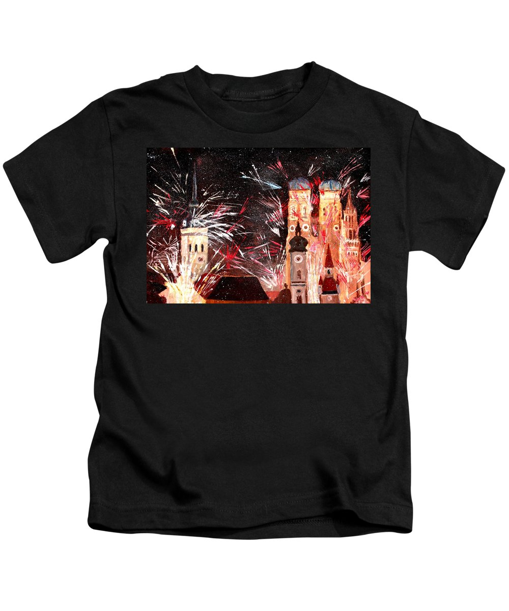 Acryl On Canvas Kids T-Shirt featuring the painting Fireworks In Munich by M Bleichner