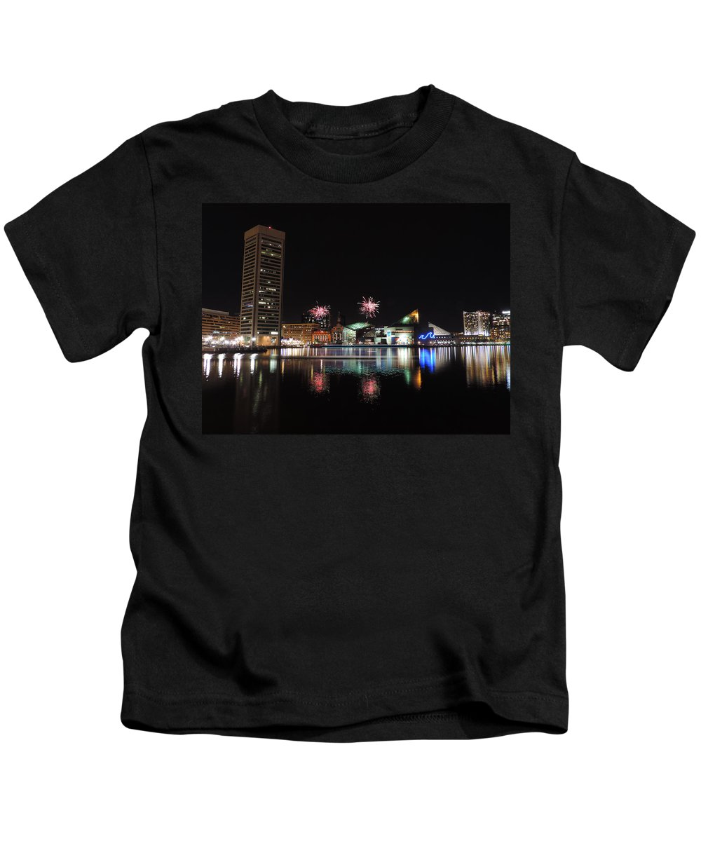 Baltimore Kids T-Shirt featuring the photograph Fireworks Over Downtown Baltimore by Cityscape Photography
