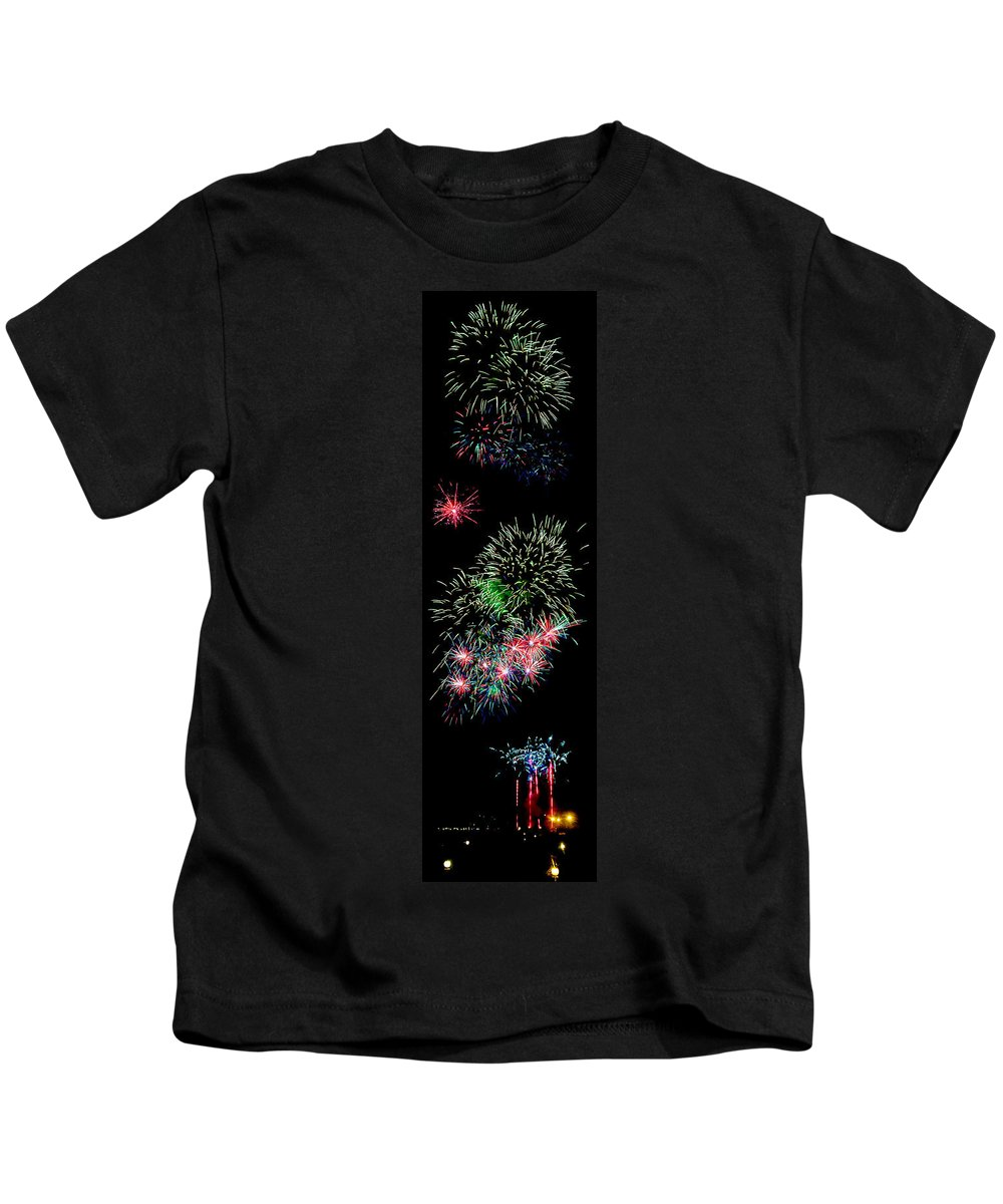 Fireworks Kids T-Shirt featuring the photograph Fireworks Over The Bay by Weston Westmoreland