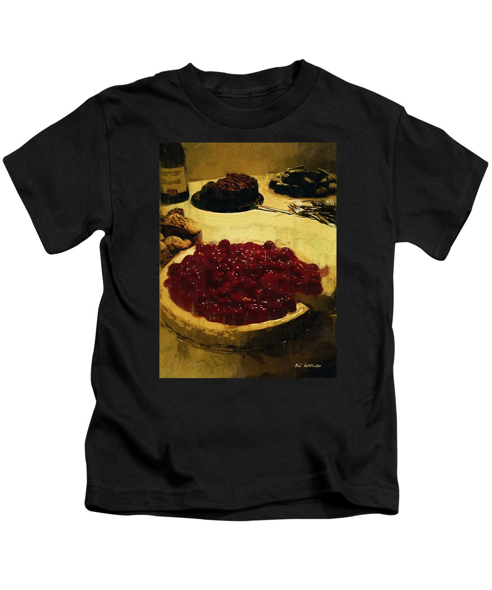 Dessert Kids T-Shirt featuring the painting First Cut by RC DeWinter
