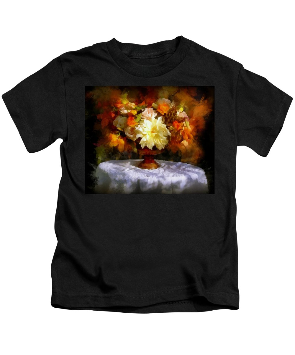 Flowers Kids T-Shirt featuring the painting First Day Of Autumn - Still Life by Lilia D
