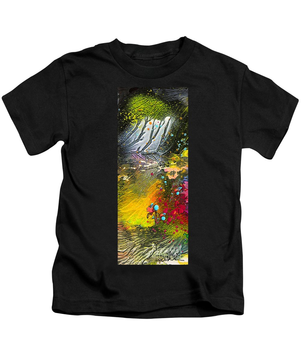 Miki Kids T-Shirt featuring the painting First Light by Miki De Goodaboom