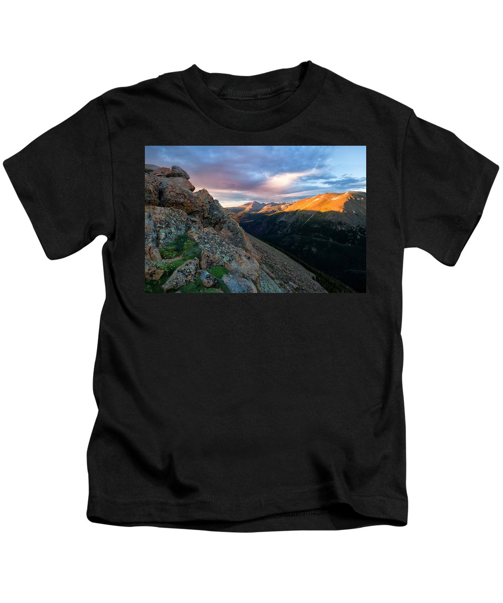 Rmnp Kids T-Shirt featuring the photograph First Light On The Mountain by Ronda Kimbrow