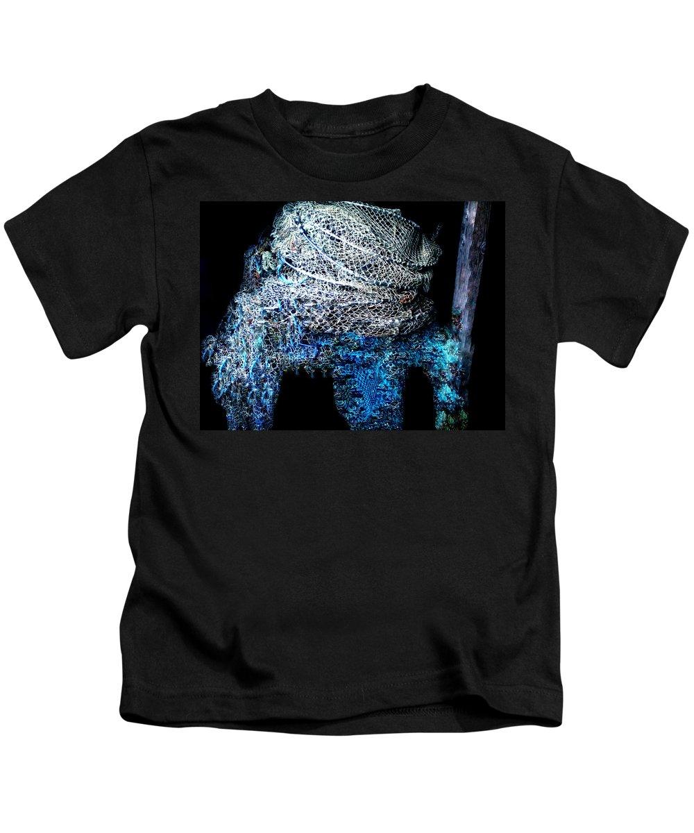 Colette Kids T-Shirt featuring the photograph Fish Net Santorini Island Greece by Colette V Hera Guggenheim