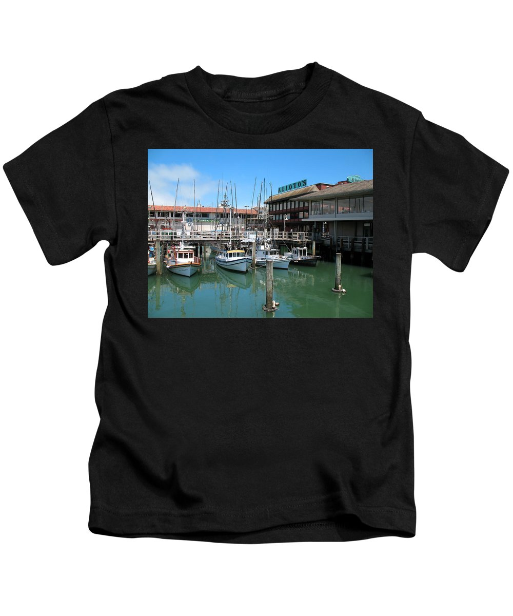Restaurants Kids T-Shirt featuring the photograph Fishermans Wharf by Connie Fox