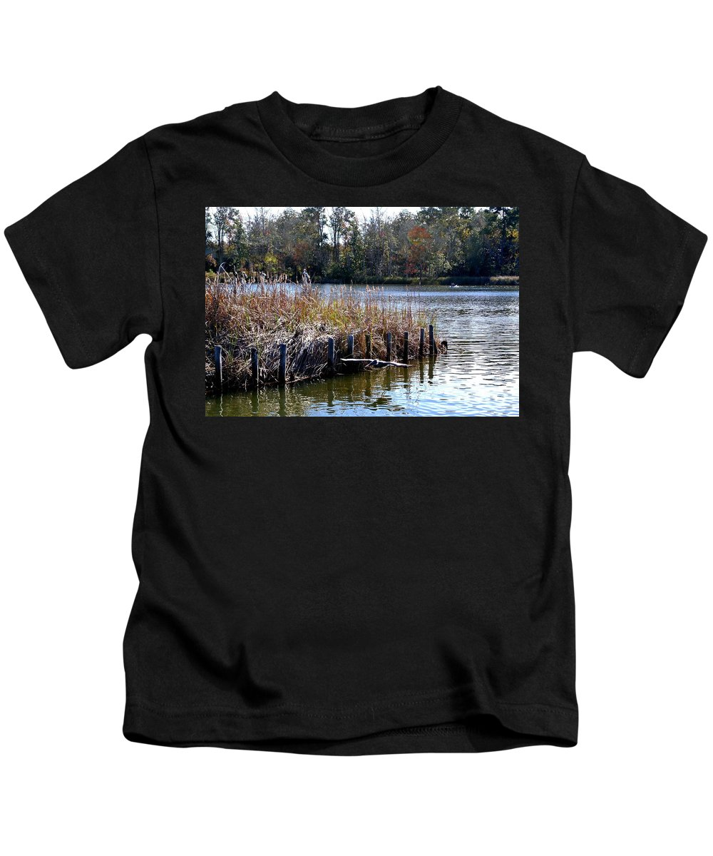 Alabama Kids T-Shirt featuring the digital art Fishing At Weeks Bay by Michael Thomas