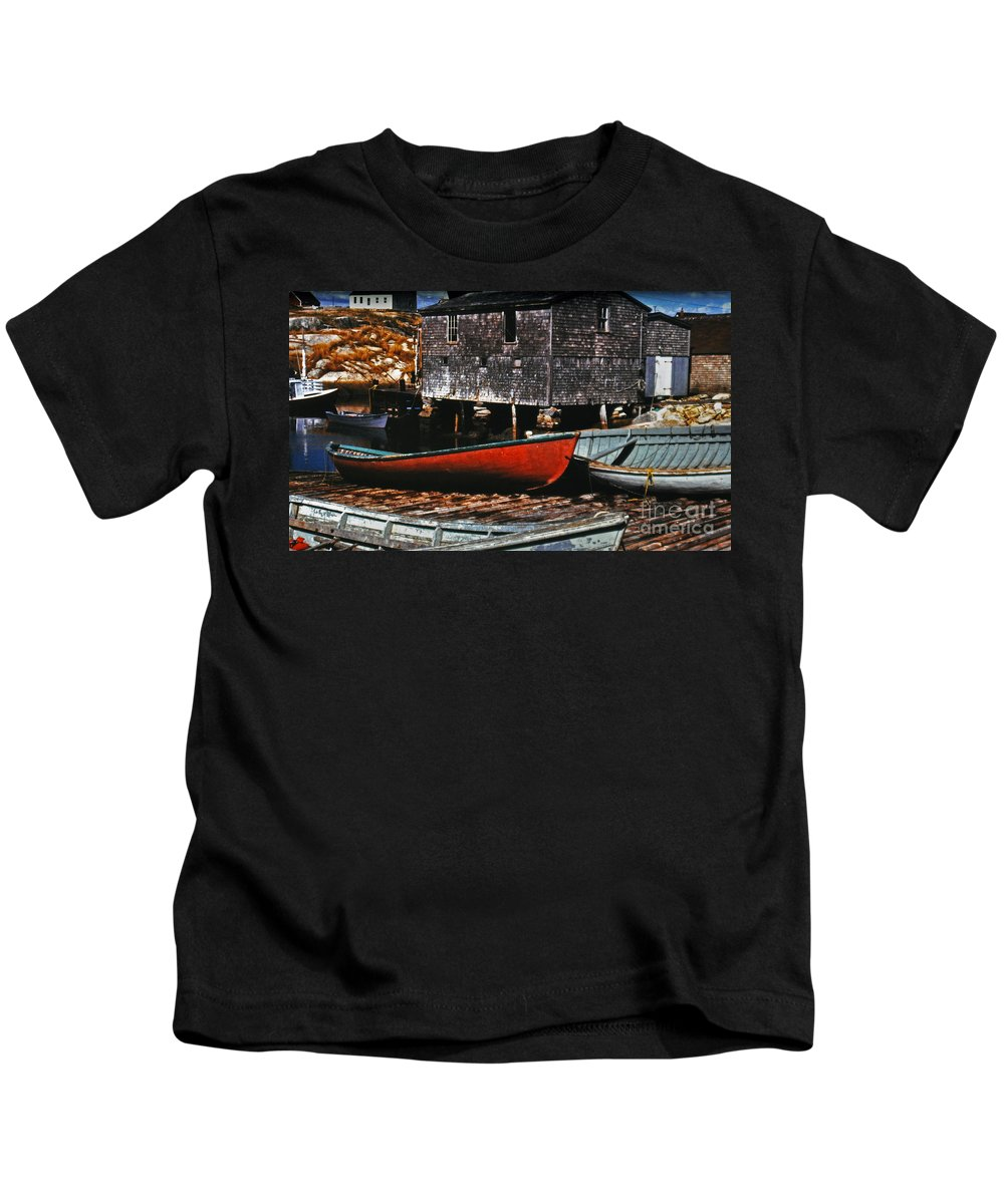 Boats Kids T-Shirt featuring the photograph Fishing Village by Lydia Holly