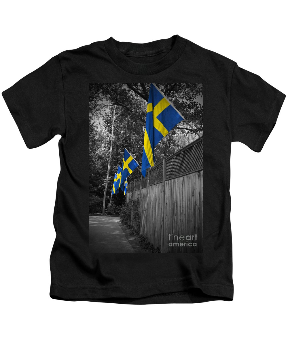 Sweden Kids T-Shirt featuring the photograph Flags Of Sweden by Jost Houk