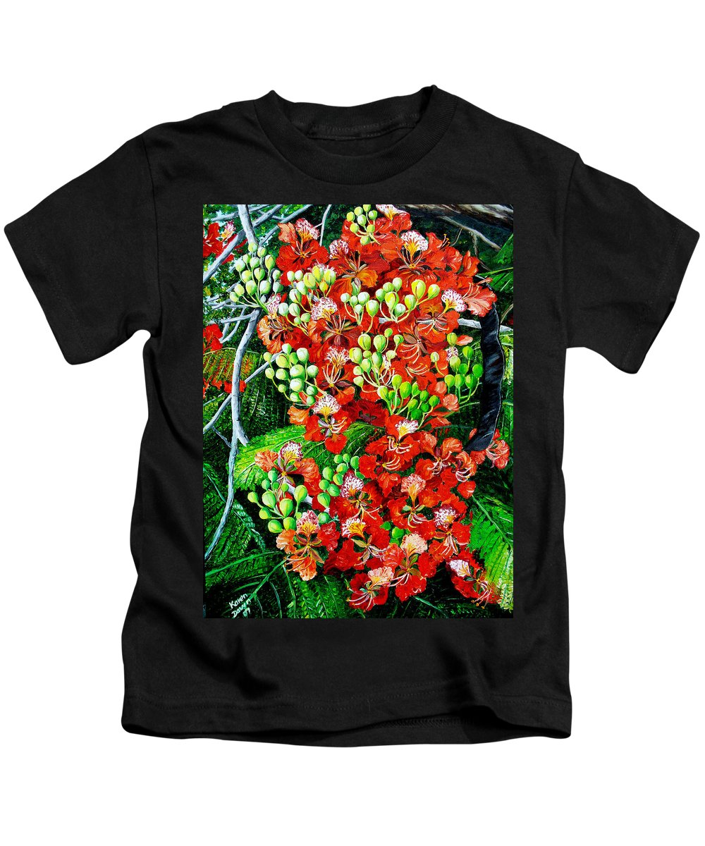 Royal Poincianna Painting Flamboyant Painting Tree Painting Botanical Tree Painting Flower Painting Floral Painting Bloom Flower Red Tree Tropical Paintinggreeting Card Painting Kids T-Shirt featuring the painting Flamboyant In Bloom by Karin Dawn Kelshall- Best
