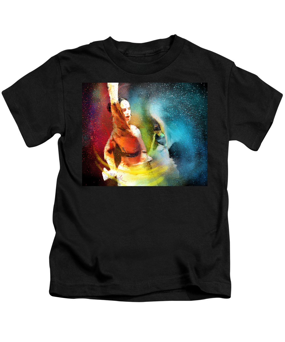 Flamenco Painting Kids T-Shirt featuring the painting Flamencoscape 08 by Miki De Goodaboom