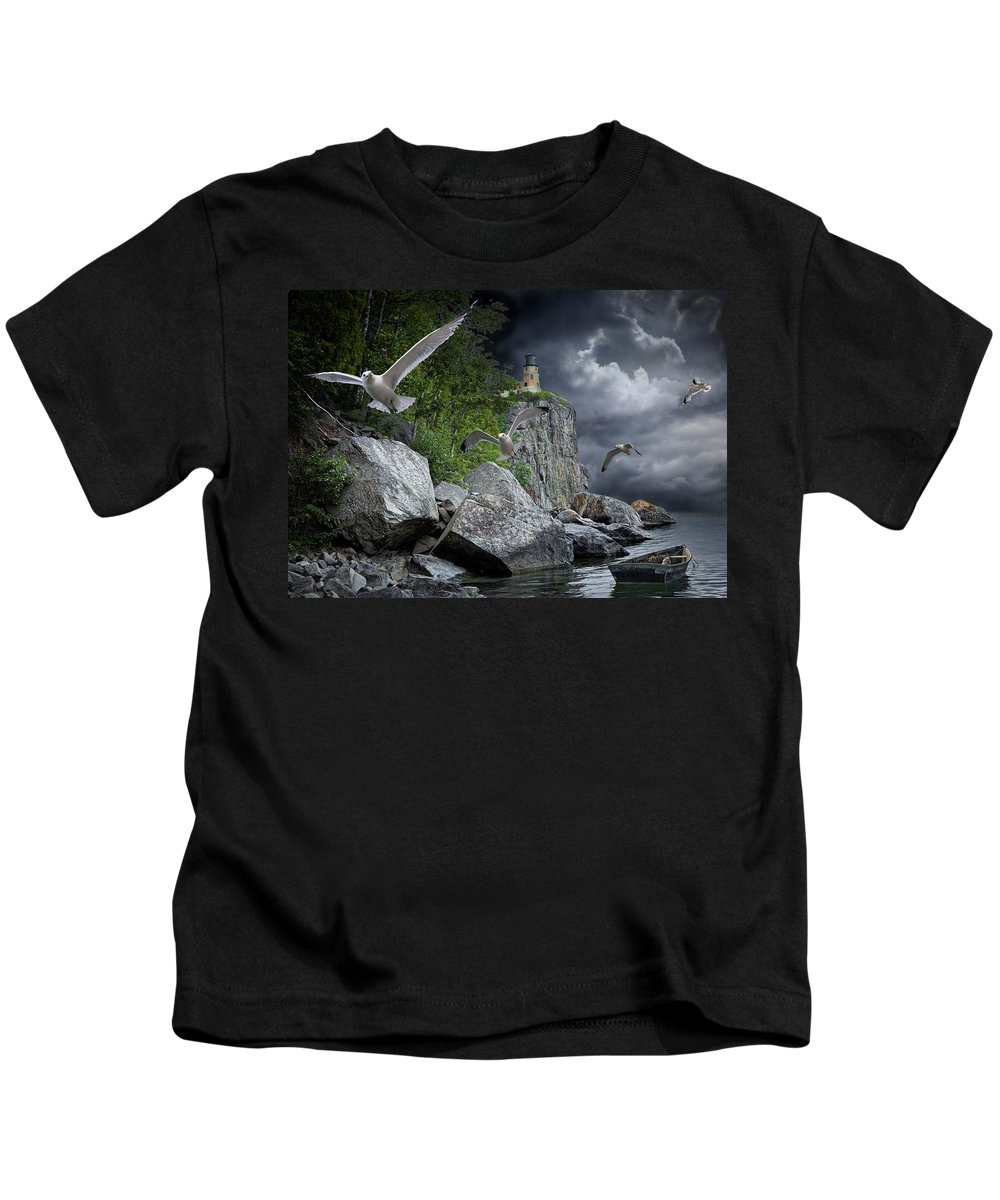 Art Kids T-Shirt featuring the photograph Fleeing The Coming Storm by Randall Nyhof