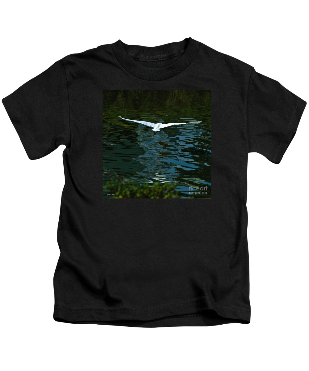 Arizona Kids T-Shirt featuring the painting Flight Of The Egret by Bob and Nadine Johnston