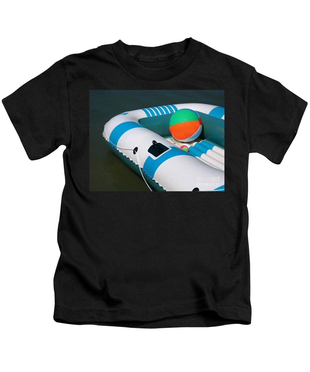 Boat Kids T-Shirt featuring the photograph Floating Fun by Ann Horn