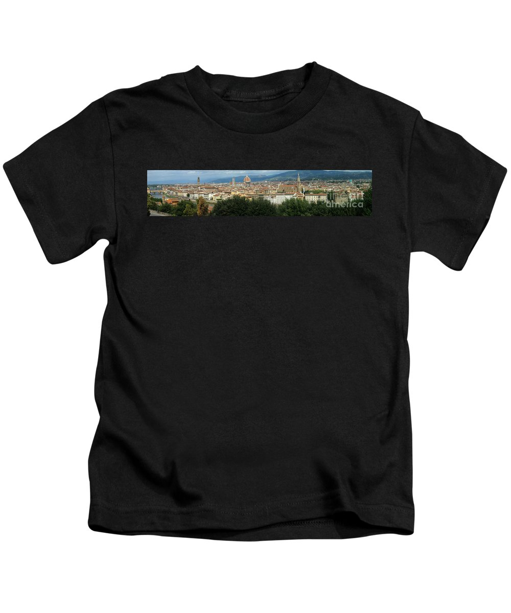 City Kids T-Shirt featuring the photograph Florence Italy Panoramic by Mike Nellums