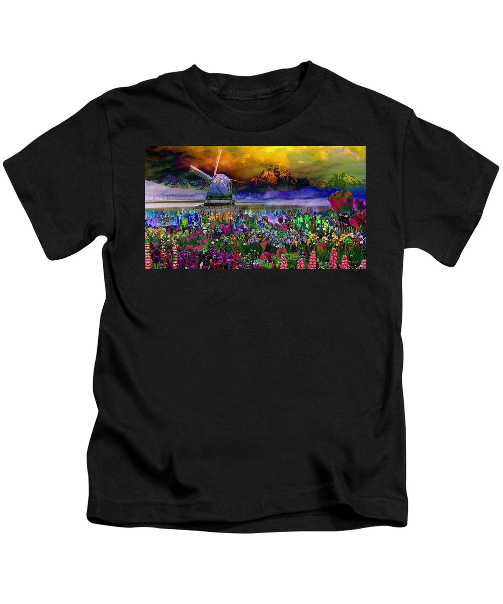 Landscape Kids T-Shirt featuring the digital art Flower Bliss by Mary Clanahan
