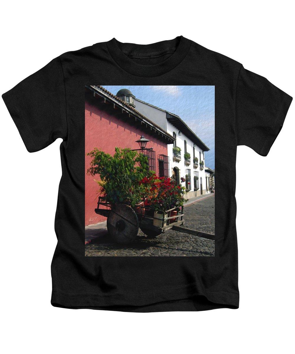 Guatemala Kids T-Shirt featuring the photograph Flower Wagon Antigua Guatemala by Kurt Van Wagner