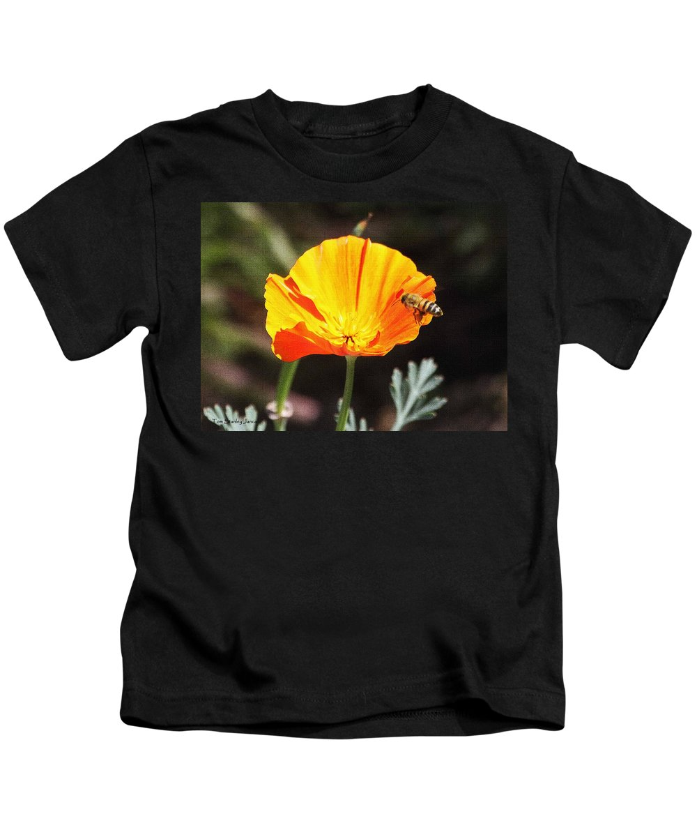 Flower With Honey Bee Kids T-Shirt featuring the photograph Flower With Honey Bee by Tom Janca