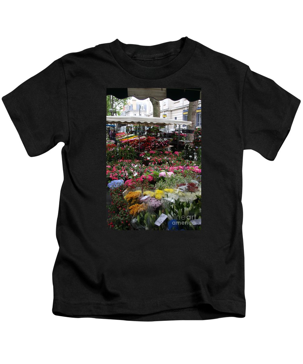 Flowermarket Kids T-Shirt featuring the photograph Flowermarket - Tours by Christiane Schulze Art And Photography