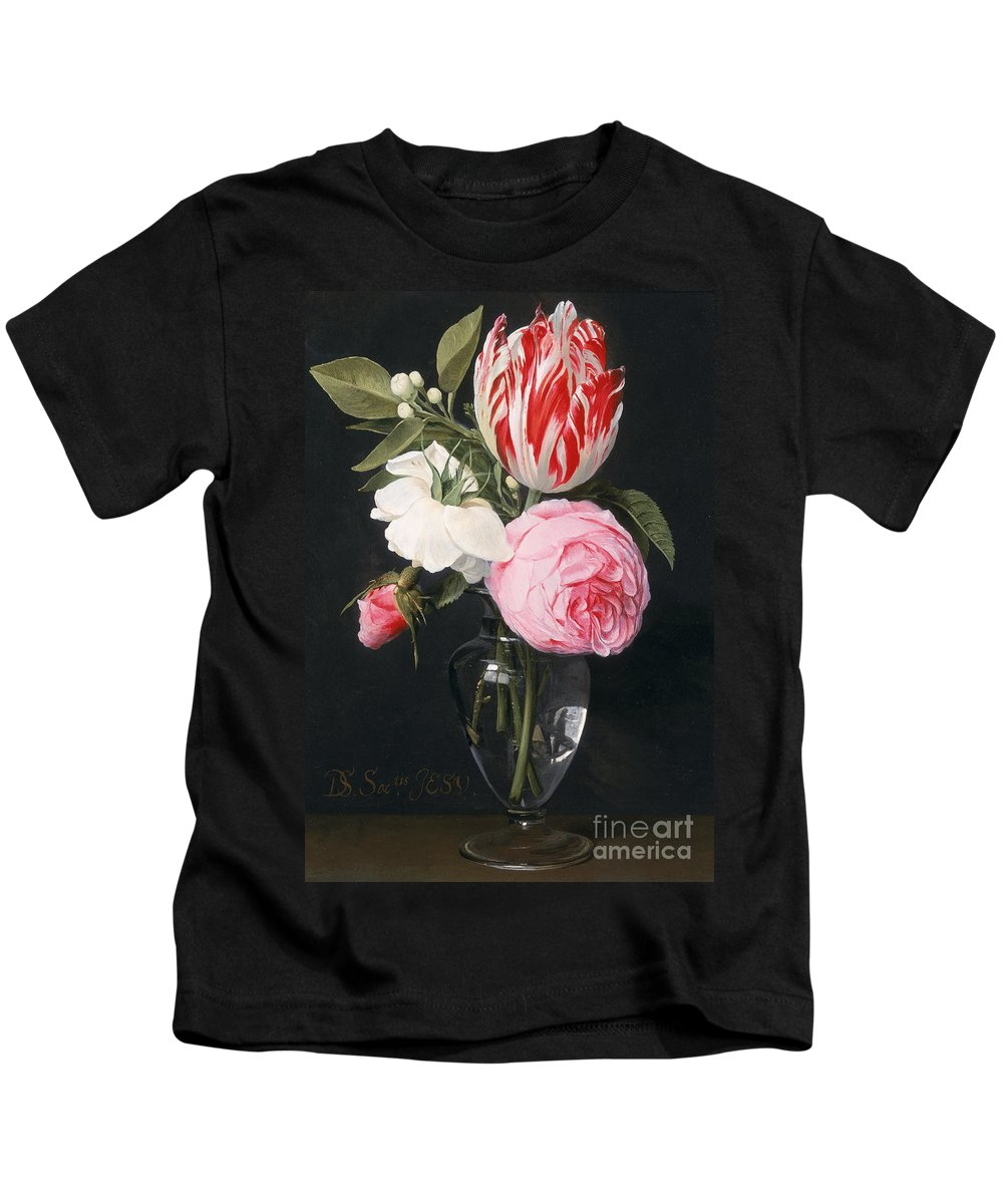 Rose Kids T-Shirt featuring the painting Flowers In A Glass Vase by Daniel Seghers