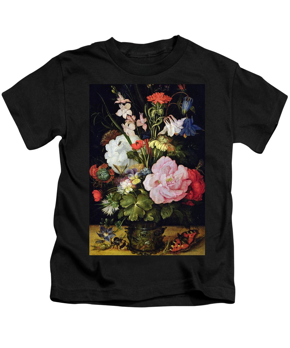 Still-life Kids T-Shirt featuring the painting Flowers In A Vase by Roelandt Jacobsz Savery