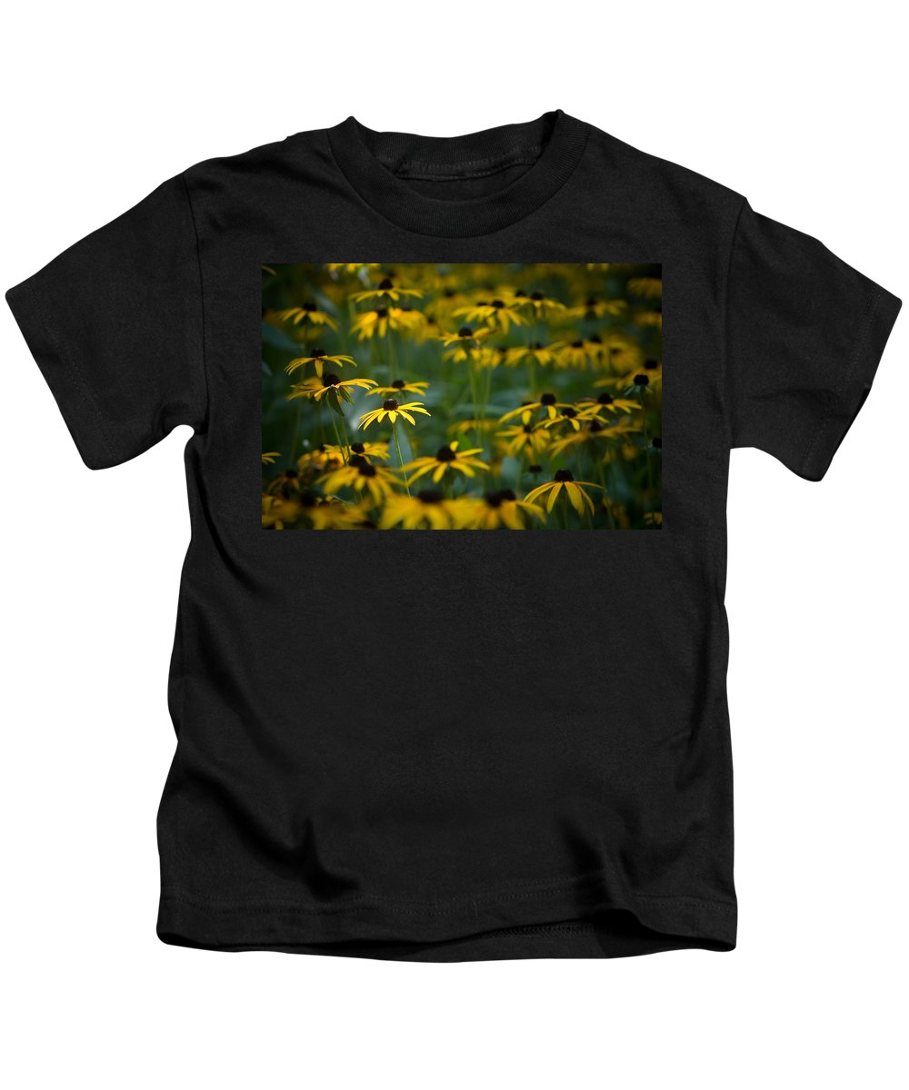 Botanicals Kids T-Shirt featuring the photograph Flowers In The Fields by Timothy Bischoff
