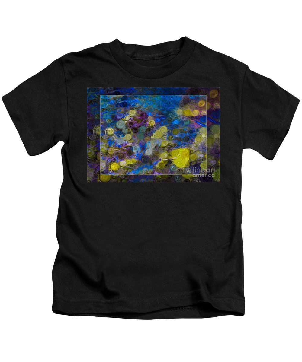 5x7 Kids T-Shirt featuring the painting Flowing River Water And Rocks Colorful Abstract Painting by Omaste Witkowski