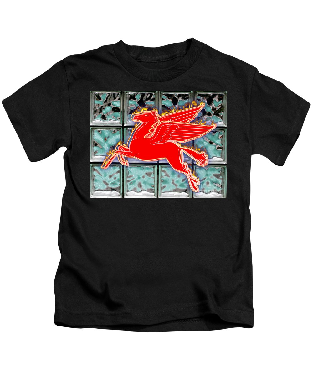 Red Kids T-Shirt featuring the digital art Flying Fire Horse by Keith Dillon