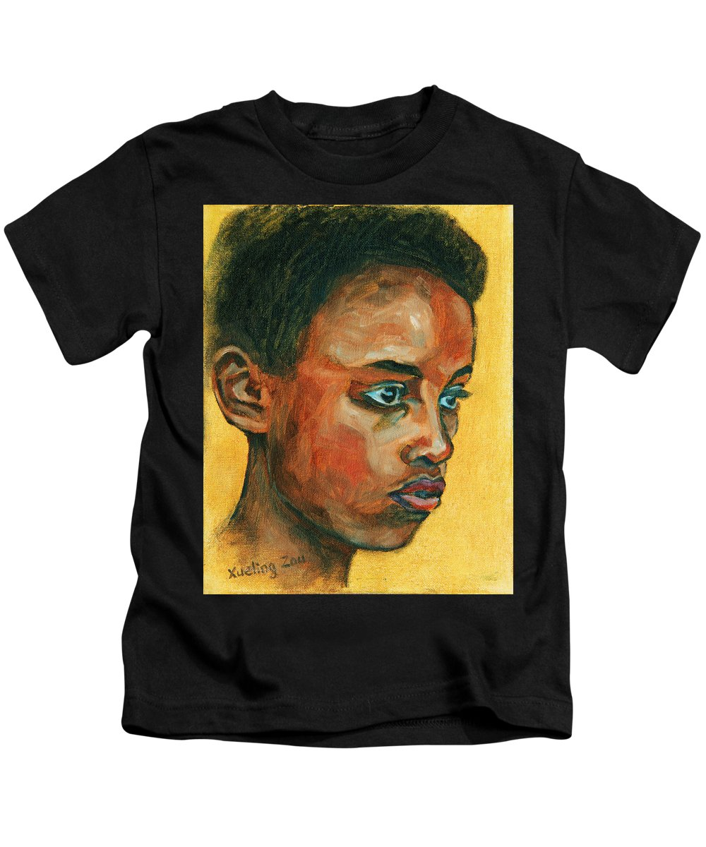 African American Kids T-Shirt featuring the painting Focus by Xueling Zou