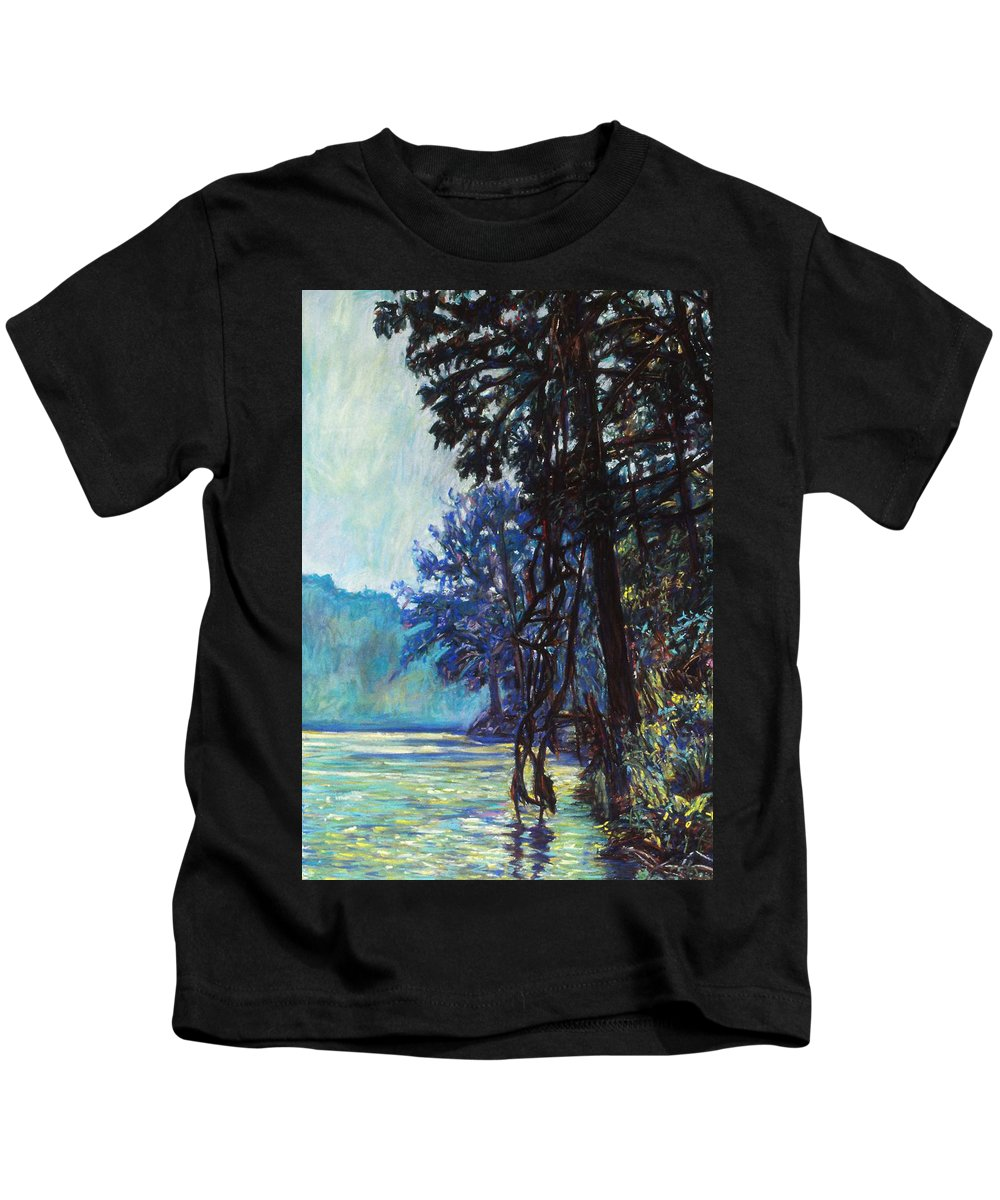 Kendall Kessler Kids T-Shirt featuring the painting Fog On The New River by Kendall Kessler