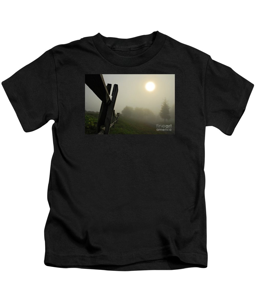 Foggy Country Road Kids T-Shirt featuring the photograph Foggy Country Road by Lois Bryan