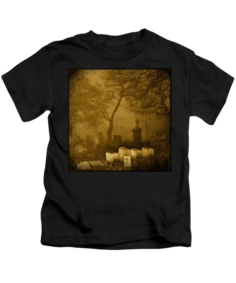 Sepia Kids T-Shirt featuring the photograph Foggy Necropolis by Gothicrow Images