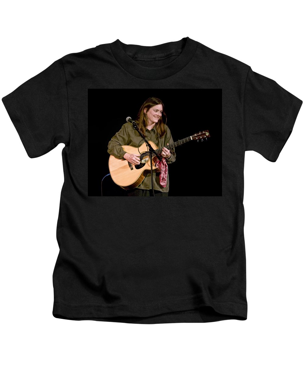 Art Kids T-Shirt featuring the photograph Folk Musician Denise Franke by Randall Nyhof