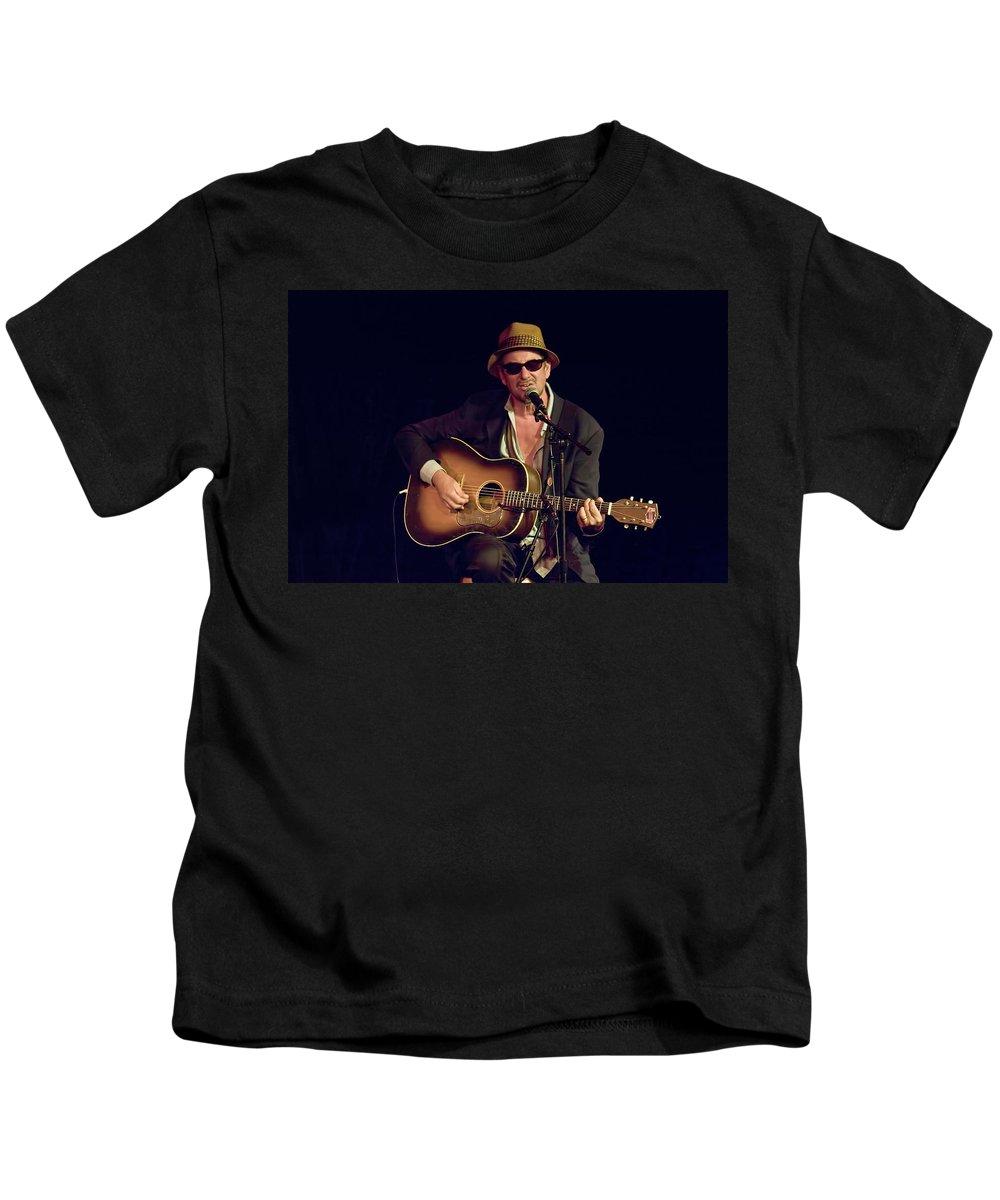 Art Kids T-Shirt featuring the photograph Folk Singer Greg Brown by Randall Nyhof