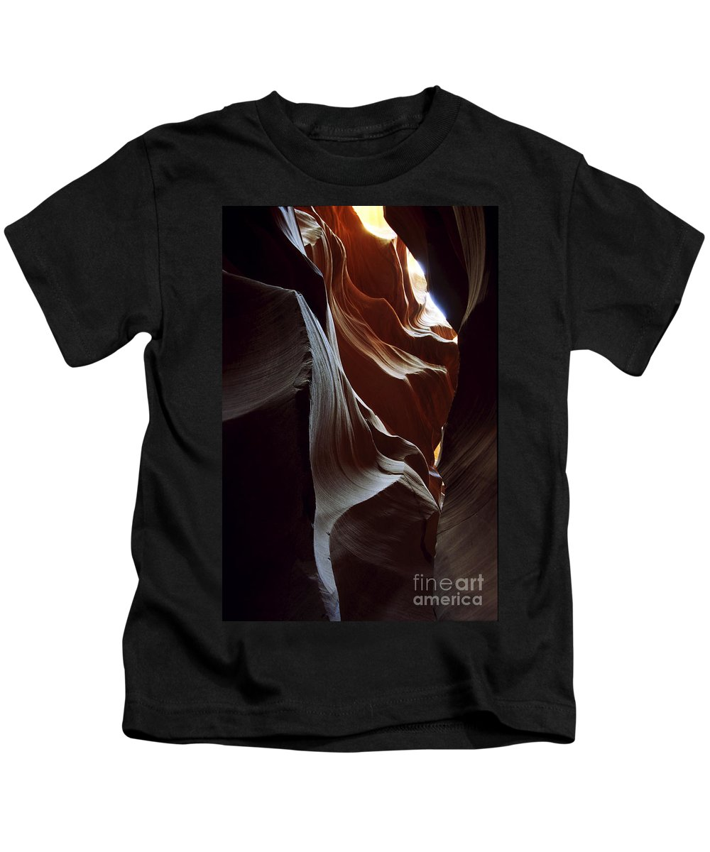 Antelope Canyon Kids T-Shirt featuring the photograph Follow The Light by Kathy McClure