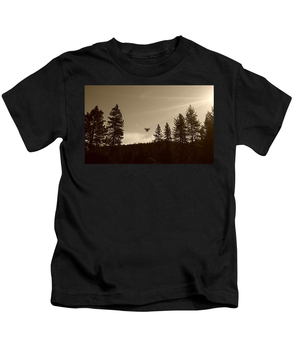 Drone Kids T-Shirt featuring the photograph Foothills Flight by Sue McElligott