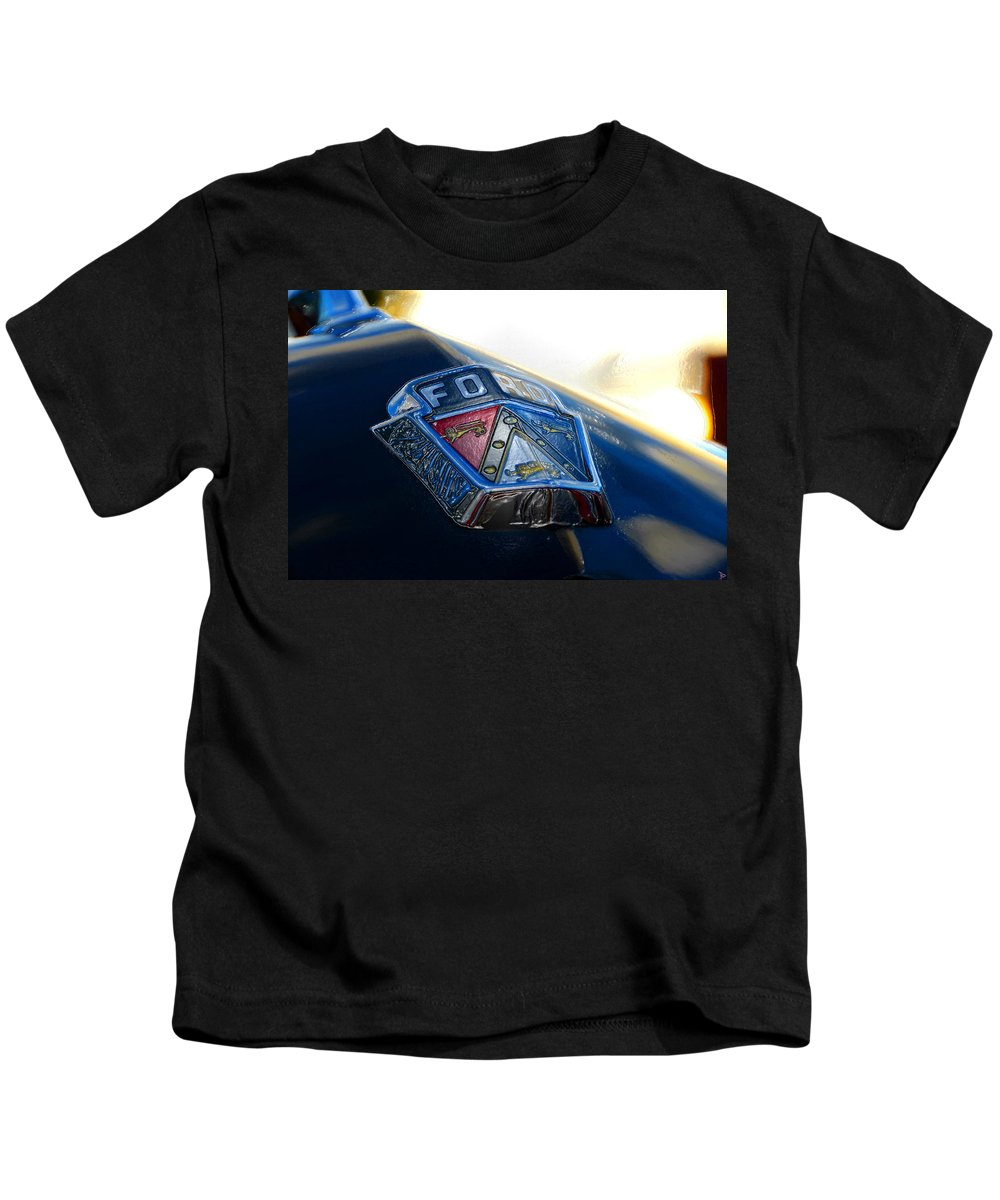Ford Crest Kids T-Shirt featuring the painting Ford Crest by David Lee Thompson