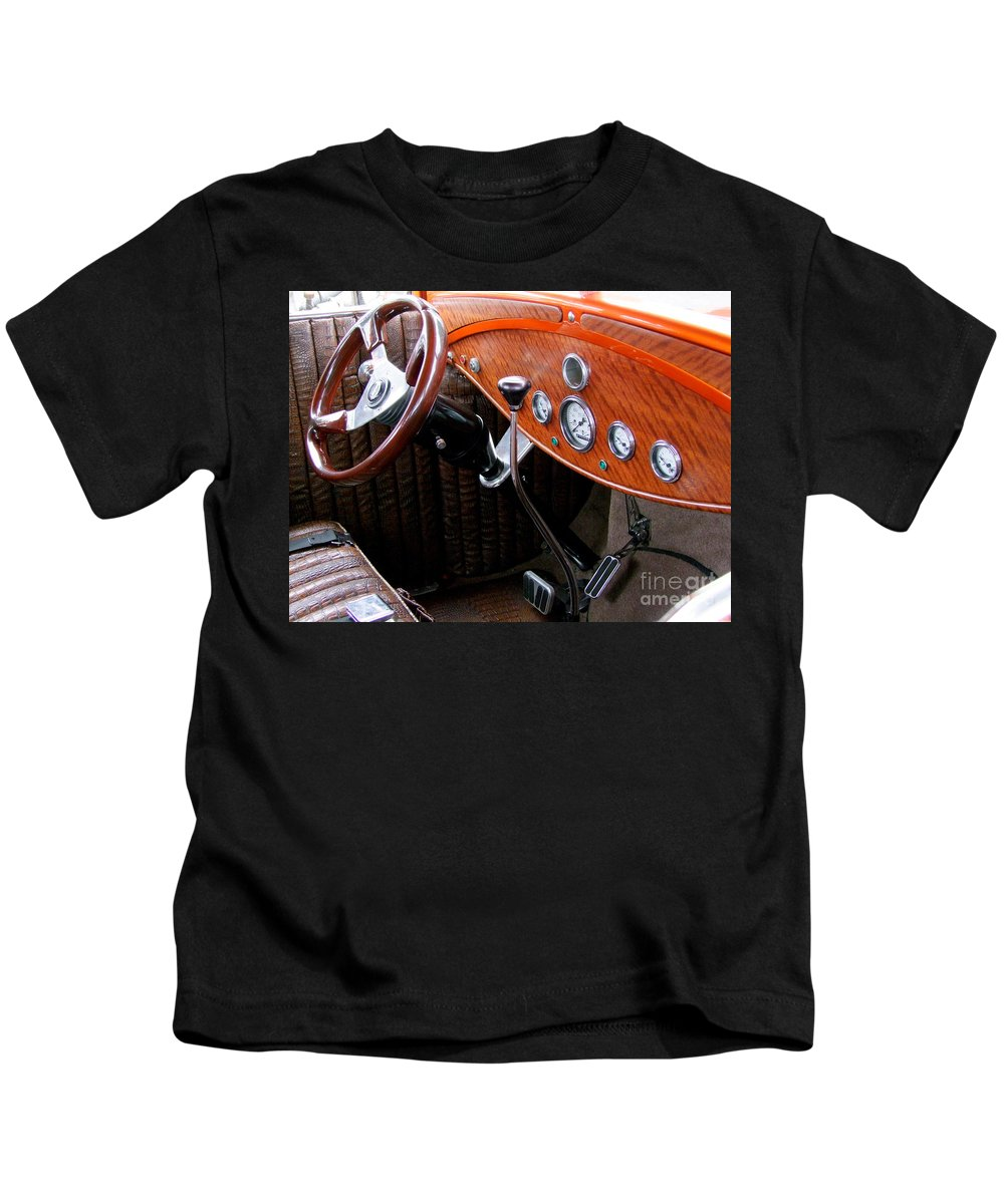 Ford V8 Kids T-Shirt featuring the photograph Ford V8 Dashboard by Mary Deal