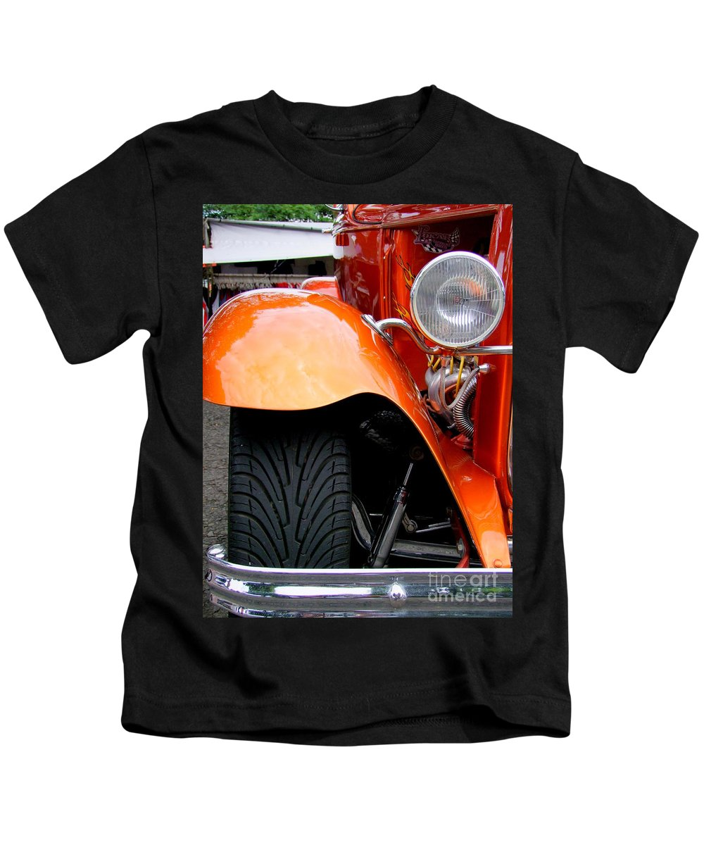 Ford V8 Kids T-Shirt featuring the photograph Ford V8 Head Lamp And Fender by Mary Deal