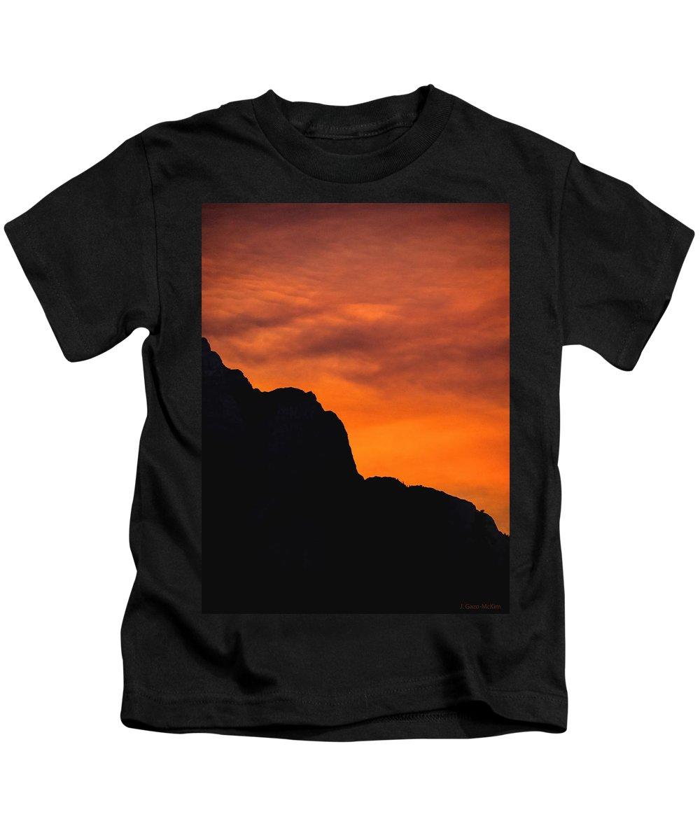 Mountains Kids T-Shirt featuring the photograph Forest Fire Sunset 01 by Jo-Anne Gazo-McKim