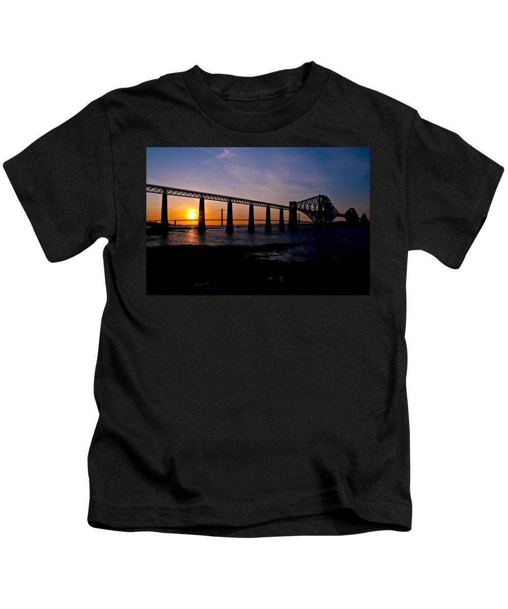 Forth Kids T-Shirt featuring the photograph Forth Bridges Sunset by Ross G Strachan
