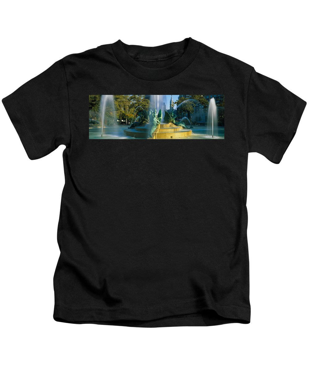 Photography Kids T-Shirt featuring the photograph Fountain In Front Of A Building, Logan by Panoramic Images