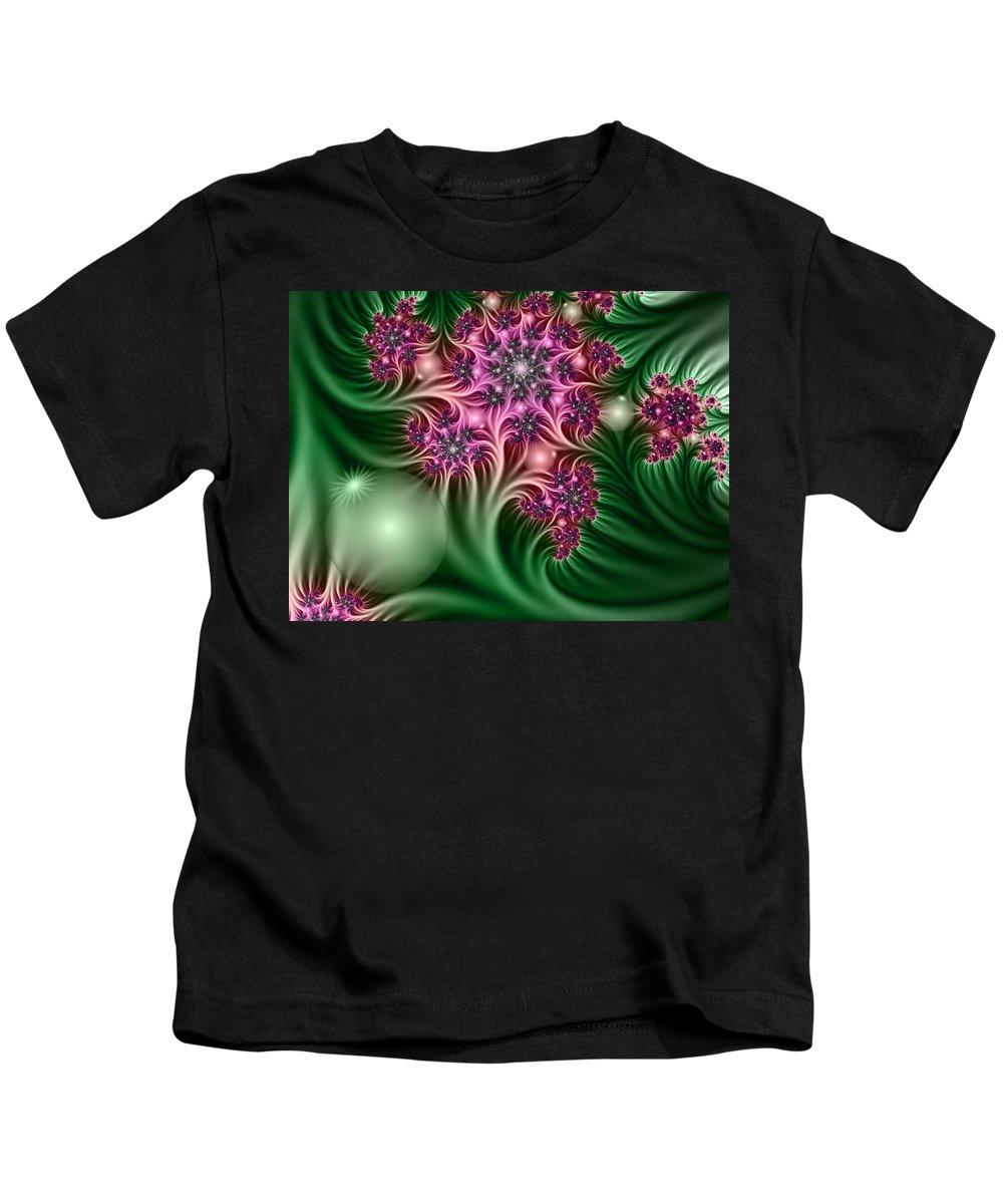 Digital Art Kids T-Shirt featuring the digital art Fractal Abstract Dreamy Garden by Gabiw Art