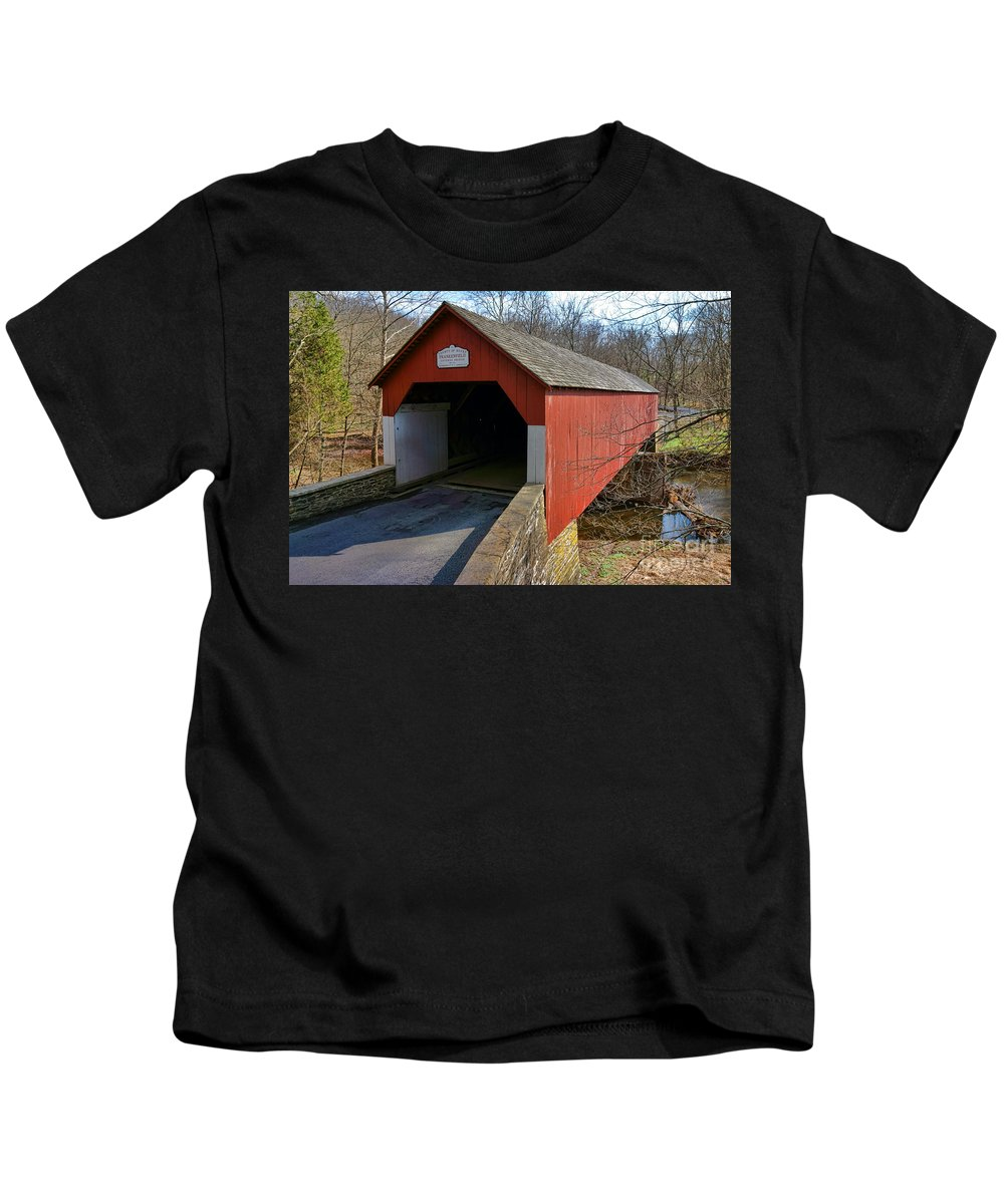 Frankenfield Kids T-Shirt featuring the photograph Frankenfield Covered Bridge by Olivier Le Queinec