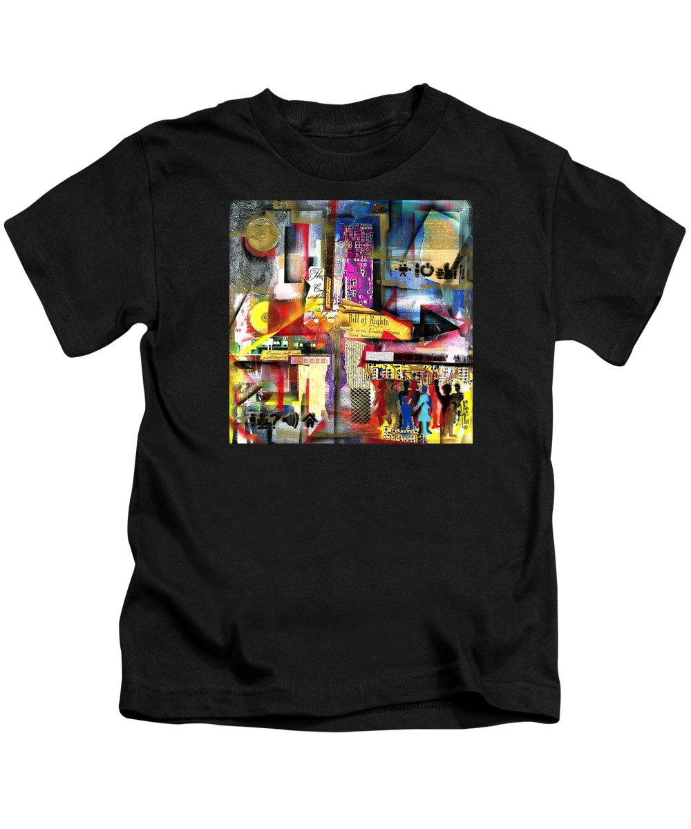 Everett Spruill Kids T-Shirt featuring the painting Freedom of Speech 3 by Everett Spruill
