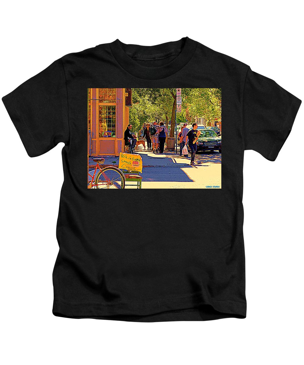 Montreal Kids T-Shirt featuring the painting French Bread On Laurier Street Montreal Cafe Scene Sunny Corner With Vente De Garage Sign by Carole Spandau