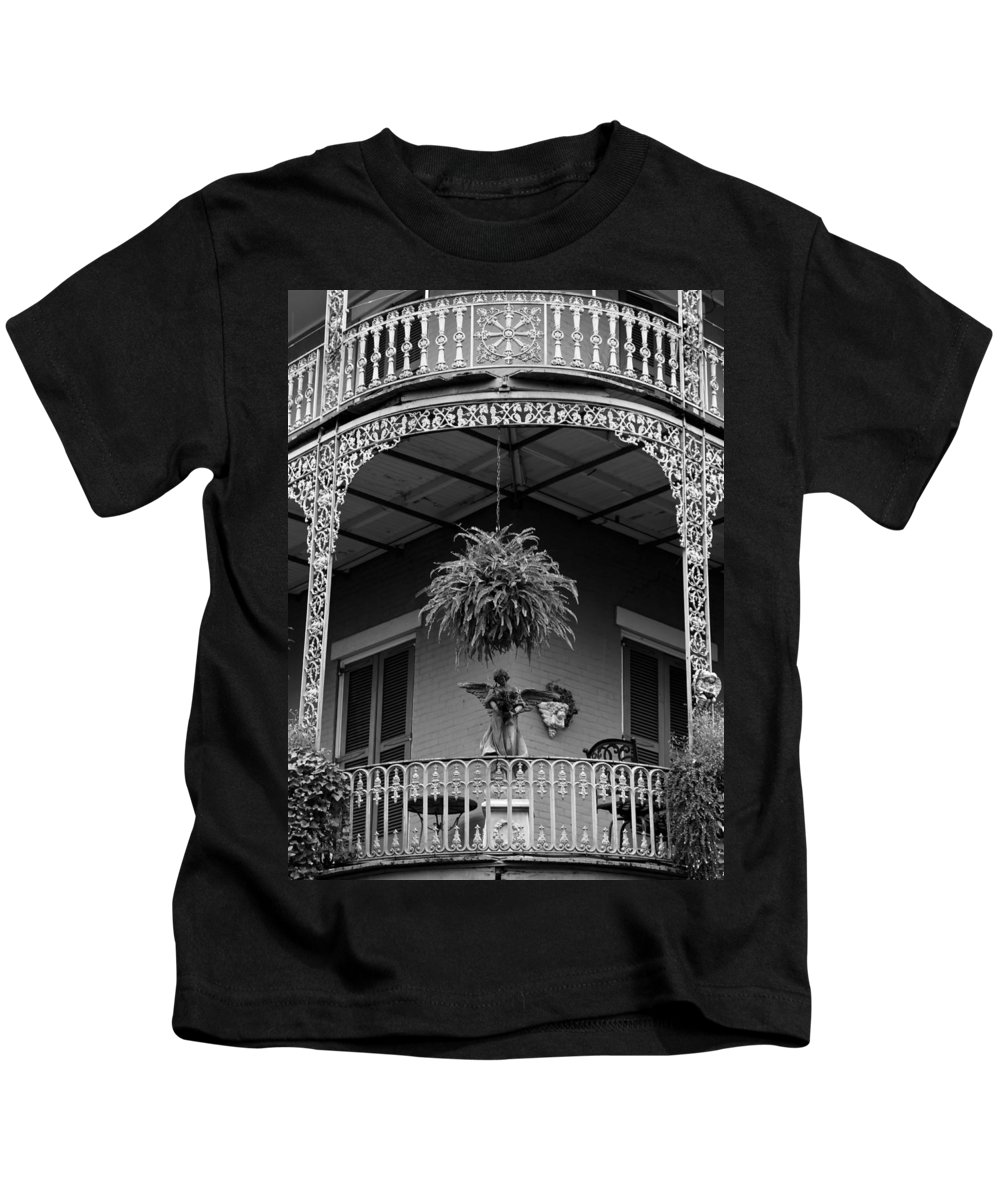 New Orleans Kids T-Shirt featuring the photograph French Quarter Balcony Bw by Susie Hoffpauir