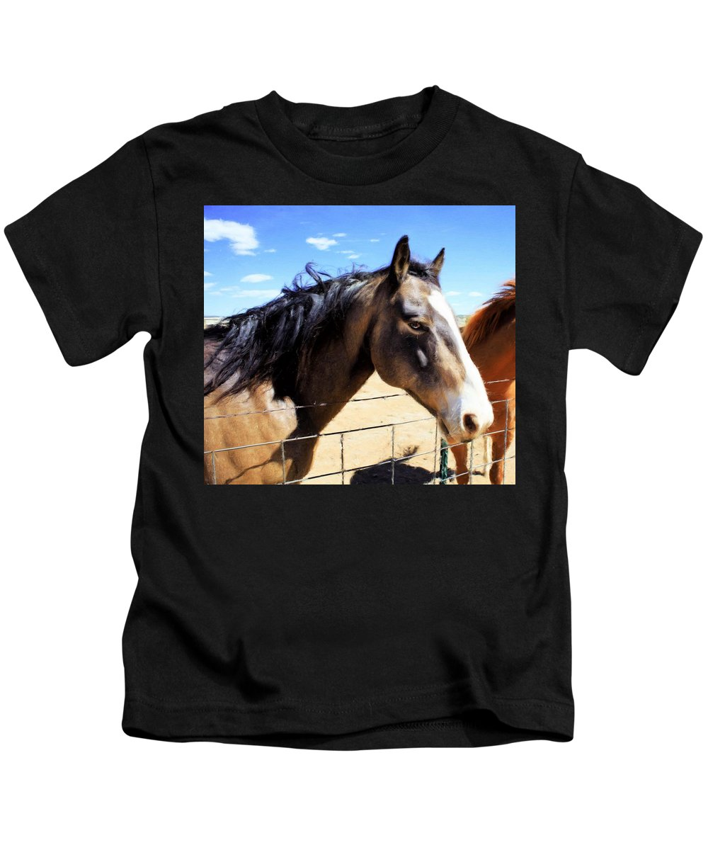 Horse Kids T-Shirt featuring the painting Working Horse by Jim Buchanan