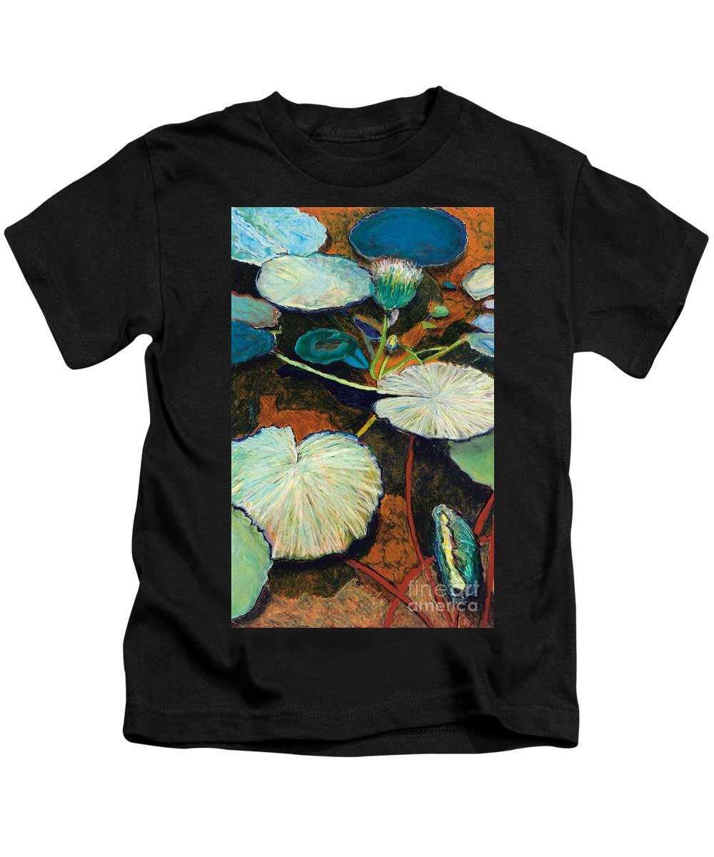 Landscape Kids T-Shirt featuring the painting Frogs Hideaway by Allan P Friedlander