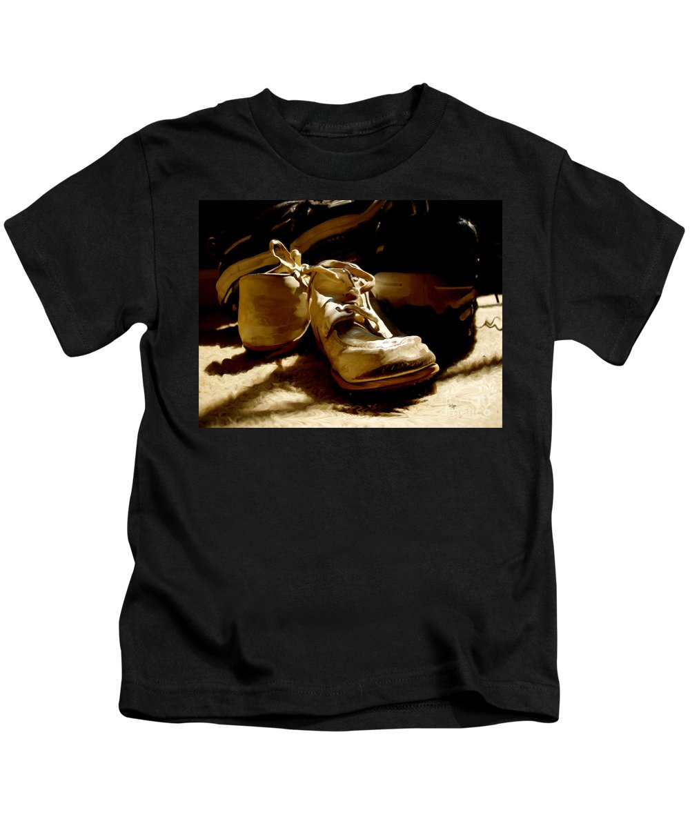 Shoe Kids T-Shirt featuring the photograph From Baby To Man In The Blink Of An Eye by Lois Bryan