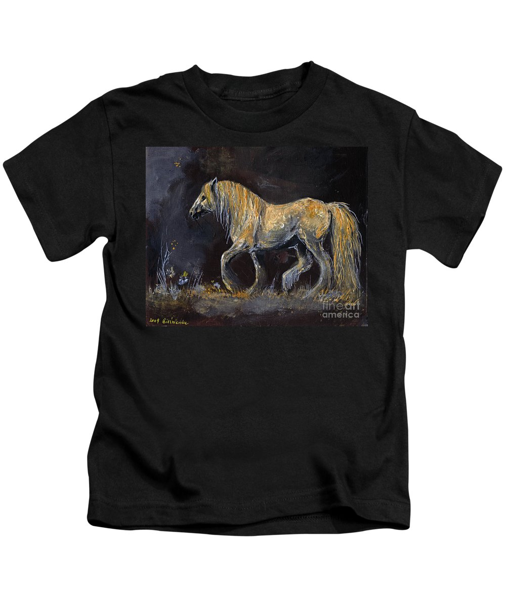 Shire Horse Kids T-Shirt featuring the painting From The Darkness by Angel Ciesniarska